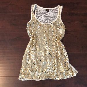 🔵Sequin & Lace Tank Top